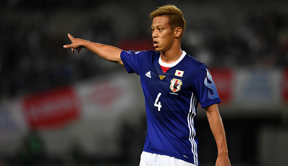 CHOFU, JAPAN - JUNE 07:  Keisuke Honda of Japan gestures during the international friendly match between Japan and Syria at Tokyo Stadium on June 7, 2017 in Chofu, Tokyo, Japan.  (Photo by Etsuo Hara/Getty Images)