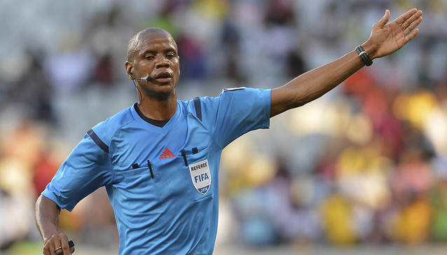 Zambian referee Janny Sikazwe during the 2014 CAF African Nations Championships Group B football match between Morocco and Uganda at Cape Town Stadium, Cape Town on 20 January 2014 ©Chris Ricco/BackpagePix